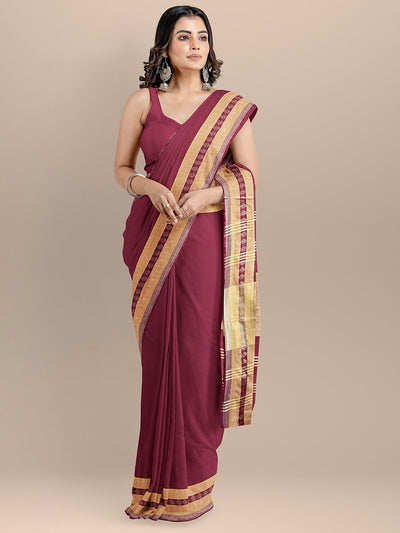 Maroon Color Pure Cotton Solid Maheshwari Handloom Saree