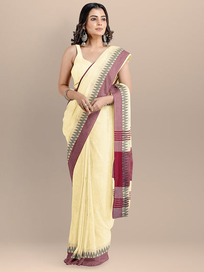Cream Color Pure Cotton Solid Maheshwari Handloom Saree