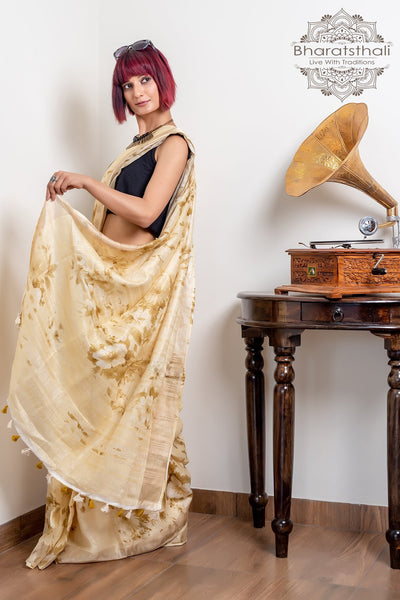 Golden Rod Yellow Pure Linen Digital Print Saree