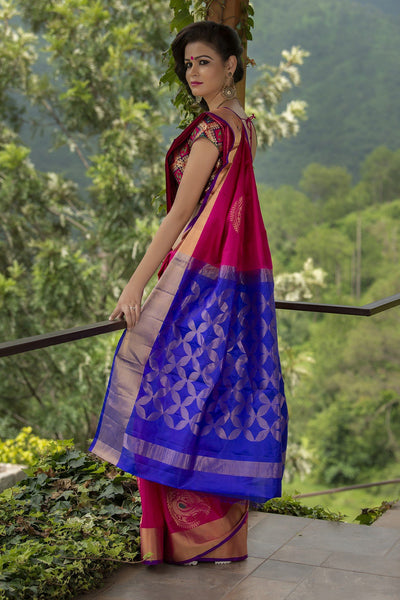 Navy Blue And Magenta Soft Silk Saree
