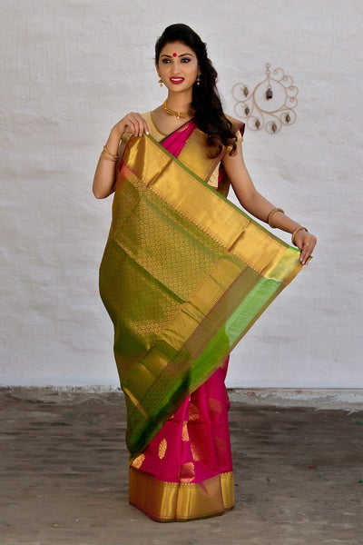 Magenta Golden Green Kanjeevaram Pattu Silk Jacquard Saree