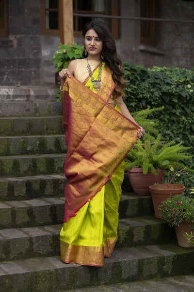 Green And Rust Pure Silk Saree With Jacquard Work
