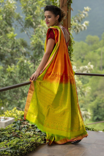 Gold Yellow And Green Pure Silk Jacquard Saree