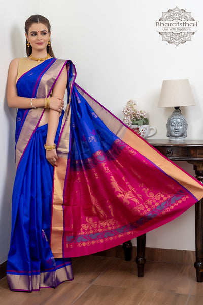 Purple With  Zari Border Magenta Pallu Pure Silk Saree