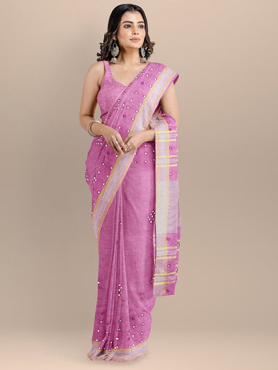 Pink Color Pure Linen Woven Design Bhagalpuri Handloom Saree