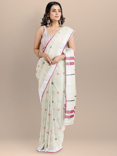 Cream Color Pure Cotton Woven Design Bagru Handloom Saree