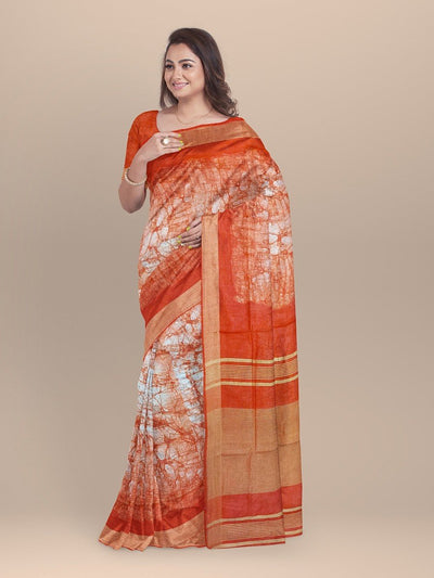 Orange Color Pure Linen Sanganeri Saree