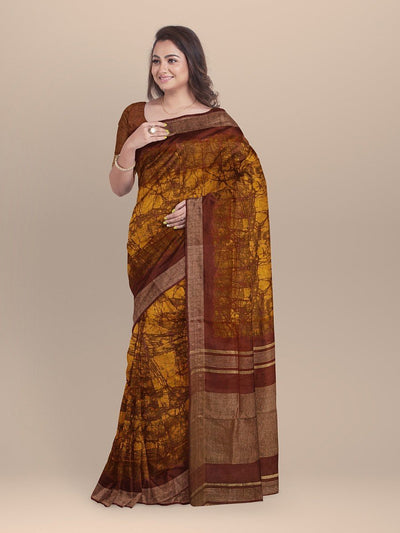 Mustard Color Pure Linen Sanganeri  Saree
