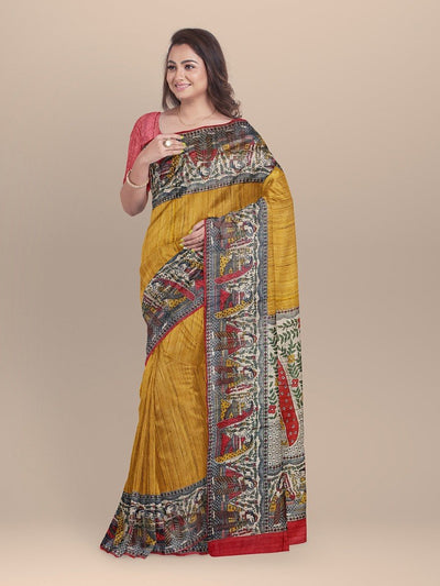 Mustard Color Pure Silk Madhubani Print Saree