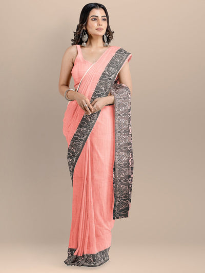 Peach Color Pure Cotton Woven Design Kalamkari Handloom Saree