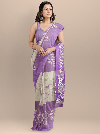 Purple Color Cotton Silk Woven Design Venkatagiri Printed Handloom Saree