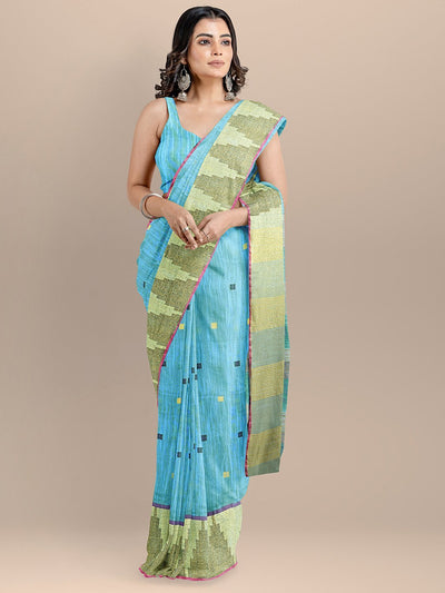 Blue Color Silk Cotton Woven Design Mangalagiri Handloom Saree