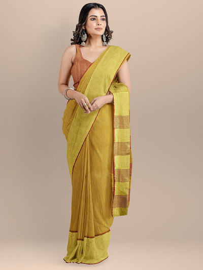 Yellow Color Silk Cotton Solid Mangalagiri Handloom Saree