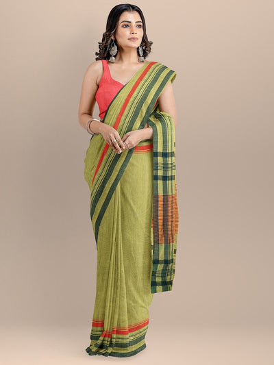 Green Color Pure Cotton Woven Design Maheshwari Handloom Saree