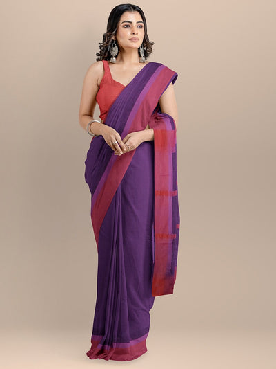 Purple Color Pure Cotton Solid Maheshwari Handloom Saree