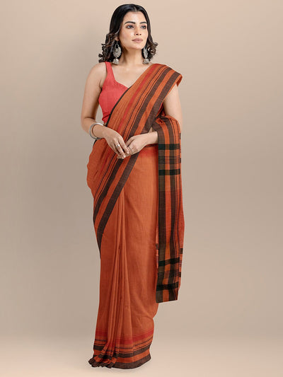 Rust Color Pure Cotton Solid Maheshwari Handloom Saree