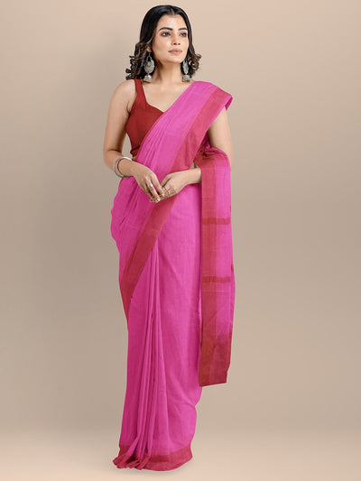 Magenta Color Pure Cotton Woven Design Maheshwari Handloom Saree