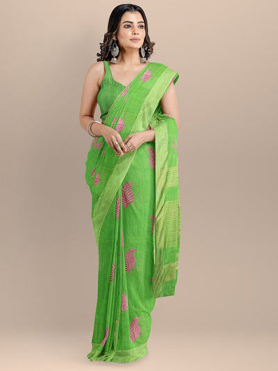 Green Color Silk Cotton Woven Design Embroidered Maheshwari Handloom Saree