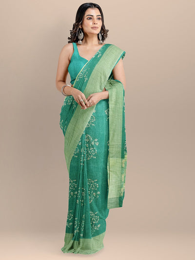 Green Color Silk Cotton Printed Venkatagiri Handloom Saree