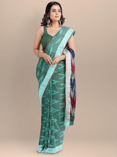Green Color Pure Cotton Woven Design Pochampally Ikat Saree