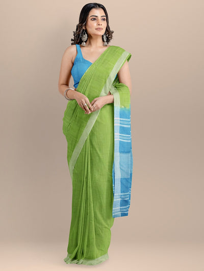 Green and Blue Color Pure Cotton Solid Mangalagiri Handloom Saree