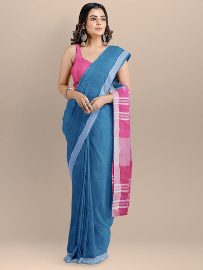 Blue Color Pure Cotton Solid Mangalagiri Handloom Saree