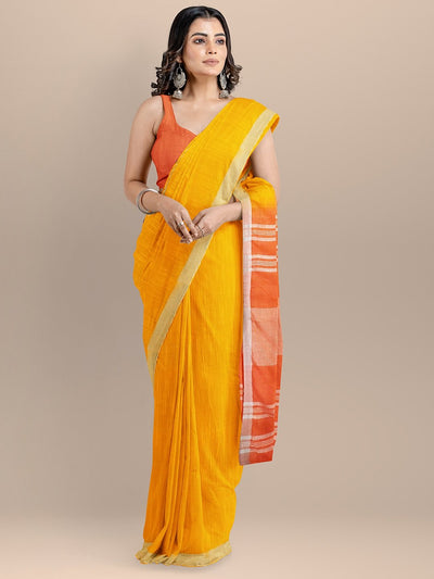 Mustard and Orange Color Pure Cotton Solid Mangalagiri Handloom Saree