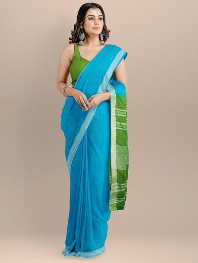 Blue and Green Color Pure Cotton Solid Mangalagiri Handloom Saree