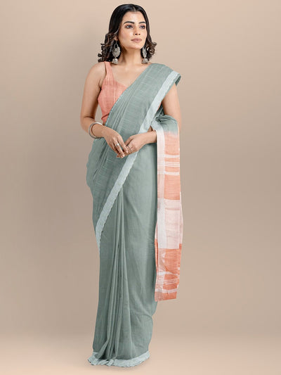 Grey Color Pure Cotton Solid Mangalagiri Handloom Saree
