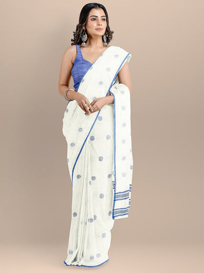 White Color Pure Cotton Woven Design Taant Handloom Saree