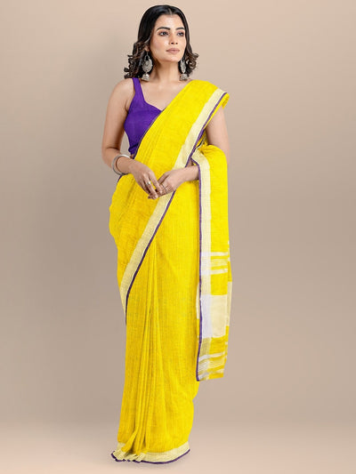 Yellow Color Pure Cotton Solid Mangalagiri Handloom Saree