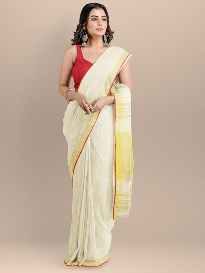 Cream Color Pure Cotton Solid Mangalagiri Handloom Saree