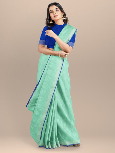 Sea Green Color Pure Cotton Solid Mangalagiri Handloom Saree