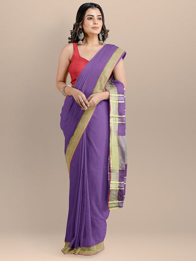 Purple Color Pure Cotton Solid Mangalagiri Handloom Saree