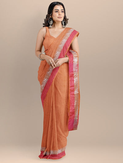 Orange Color Silk Cotton Solid Maheshwari Handloom Saree