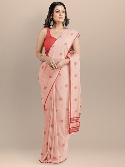 Peach Color Pure Cotton Woven Design Taant Handloom Saree