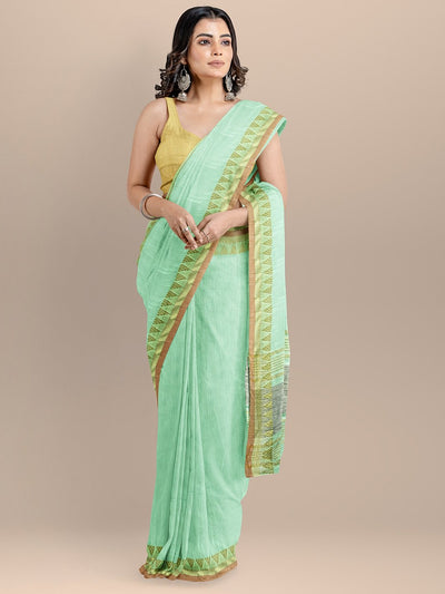 Sea Green Color Pure Cotton Solid Maheshwari Handloom Saree