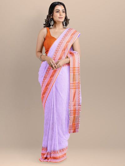 Purple Color Pure Cotton Woven Design Maheshwari Handloom Saree
