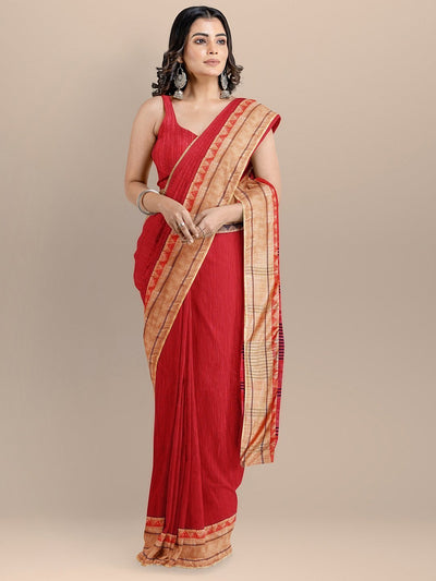 Red Color Silk Cotton Solid Maheshwari Handloom Saree
