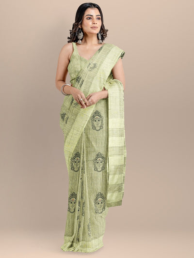 Green Color Silk Cotton Embroidered Kalamkari Handloom Saree