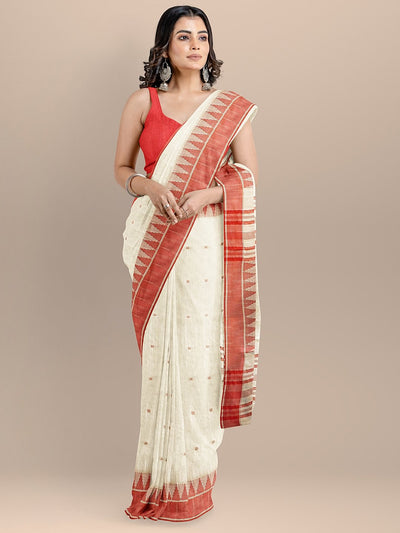 Beige Color Pure Cotton Woven Design Maheshwari Handloom Saree