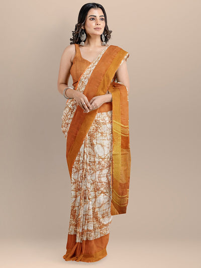 Orange Color Pure Cotton Printed Narayan Peth Handloom Saree