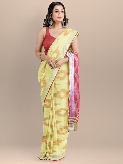 Yellow Color Pure Cotton Woven Design Ikat Handloom Saree