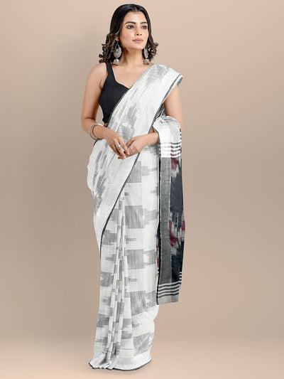 White Color Pure Cotton Woven Design Ikat Handloom Saree