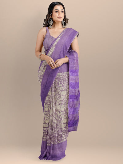 Purple Color Silk Cotton Printed Narayan Peth Handloom Saree
