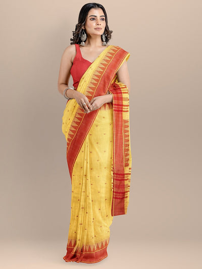 Yellow Color Pure Cotton Woven Design Maheshwari Handloom Saree