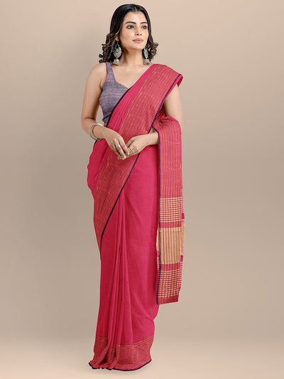 Pink Color Pure Cotton Solid Maheshwari Handloom Saree