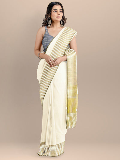 White Color Pure Cotton Solid Maheshwari Handloom Saree