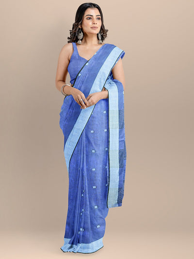 Blue Color Pure Cotton Woven Design Taant Handloom Saree