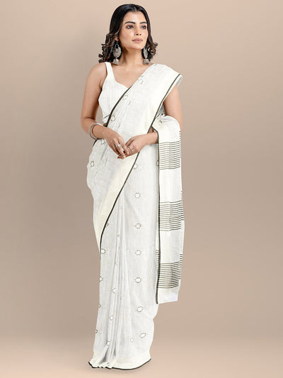 White Color Pure Cotton Woven Design Mangalagiri Handloom Saree
